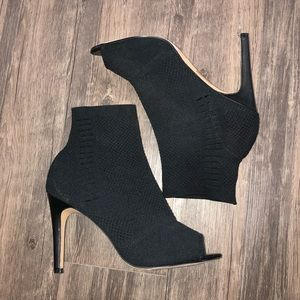 Express Black Slip-On Peep-Toe Stilettos 9